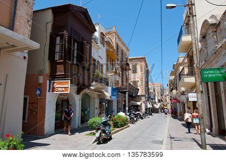 RETHYMNO CRETE - JULY 23:Shopping Arkadiou street on July 232014 in Rethymnon city on the island of Crete Greece. Arkadiou Street is the shopping centre in Rethymnon