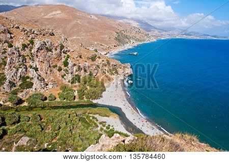 View of Preveli beach and lagoon on the Crete island Greece.