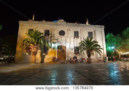 CRETE HERAKLION-JULY 25: Church of Saint Titus at night on July 25 2014 in Heraklion on the Crete island Greece.