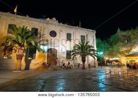 CRETE HERAKLION-JULY 25:The basilica of St Titus at night on July 25 2014 in Heraklion on Crete Greece.