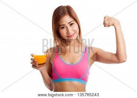 Beautiful Asian Healthy Girl Drinking  Orange Juice  Flexing  Bicep