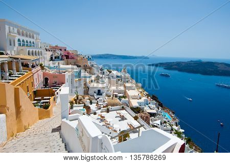 SANTORINIFIRA-JULY 28: Fira cityscape on July 282014 in Fira town on Santorini Greece. Fira is the modern capital of the Greek Aegean island Santorini.