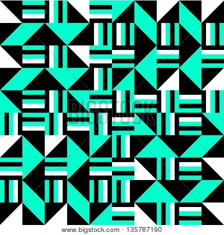 Black white turquoise cubist bauhaus style tileable background