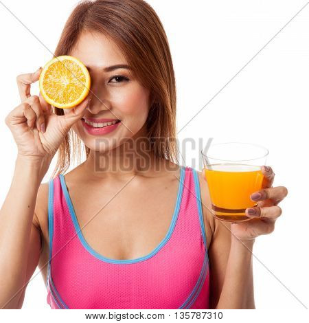 Beautiful Asian Healthy Girl With Orange Juice And Orange Fruit