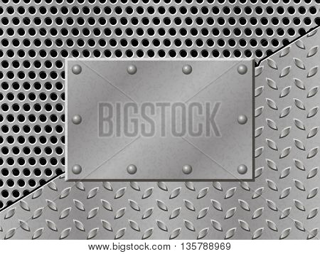 Rusty perforated Metal Background with plate and rivets. Metallic grunge texture. Steel iron aluminum surface template. Abstract techno vector illustration.