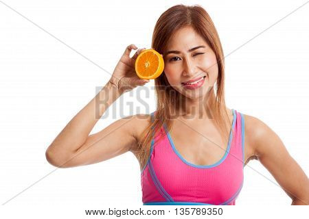 Asian Healthy Girl On Diet With Orange Fruit