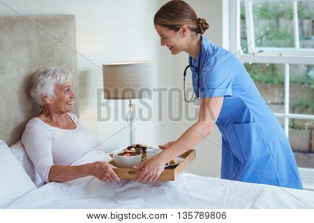 Smiling nurse giving food to senior woman at home
