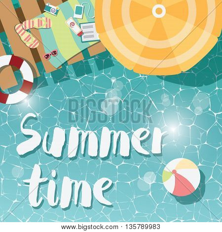 Modern typographic summer poster design flip flops swimming pool and beach items vector illustration