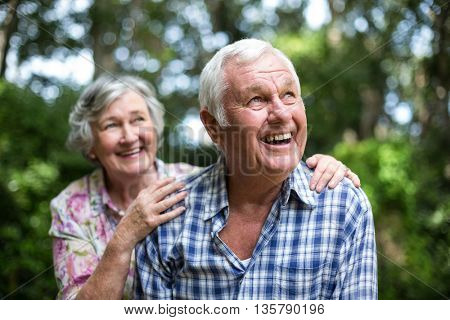 Happy senior couple looking up against trees in back yard