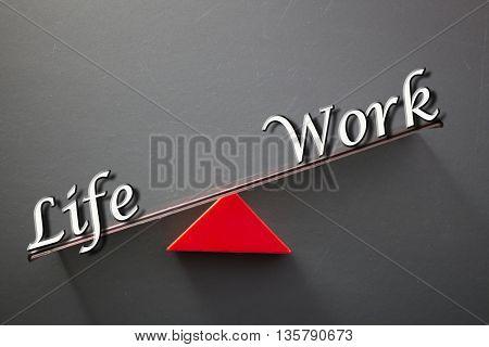 imbalance concept, words life and work on blackboard