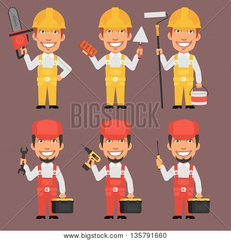 Vector Illustration, Builder and Repairman Holds Tools Part 2, Format EPS 8