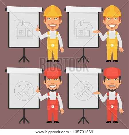 Vector Illustration, Builder and Repairman Point to Flip Chart, Format EPS 8