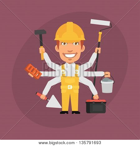 Vector Illustration, Builder Master Many Hands, Format EPS 8