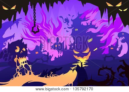 Set 7: The Scary Danger Adventure. Abstract Creative Innovation Digital Concept CG Abstract Artwork Mobile Video Game Wallpaper Background. Realistic Fantastic Cartoon Style Scene, Story, Card Design.