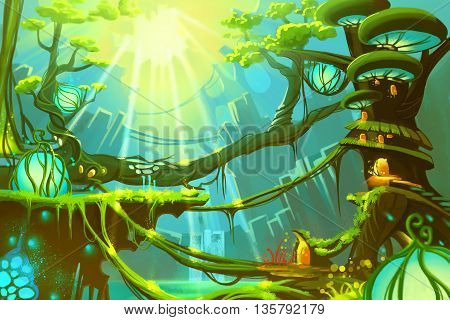 Watercolor Style Video Game Digital CG Artwork Concept Art Illustration: The Fantasy Wild Forest with Sunlight. Realistic Fantastic Cartoon Style Character, Background, Wallpaper, Story, Card Design