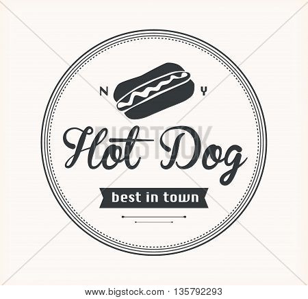 American hot dog bread sausage mustard emblem vector illustration