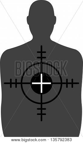 Target - A Shooting Range Target with Crosshairs - An illustration of a Shooting range target with crosshairs on top.