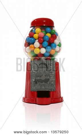 Gumball machine over white with reflection
