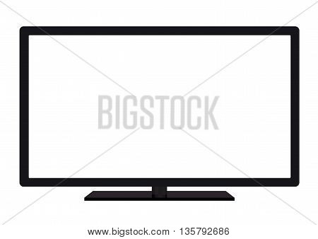isolated OLED black flat smart wide TV on white background