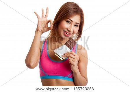 Beautiful Healthy Asian Girl Show Ok With Chocolate