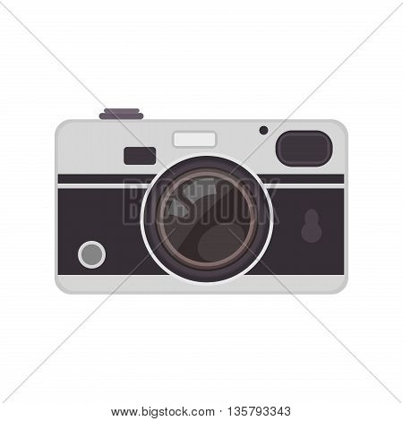 Retro camera or vintage camera in flat style on white background. Old camera with strap. Isolated antique camera. Hung retro camera.