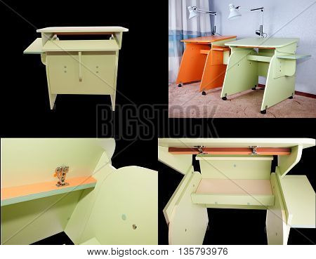 Homemade home school desk with a changing inclination countertops orange and light green light