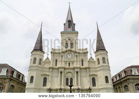 NEW ORLEANS, USA - MAY 14, 2015: The oldest cathedral in the United States St. Louis Cathedral on the Place John Paul II in French Quarter.