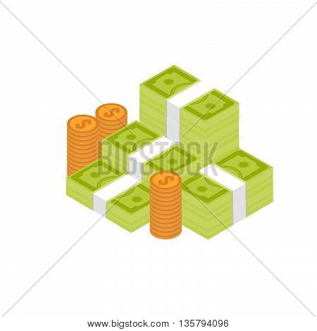 Pile of cash. Stock vector. Vector illustration.