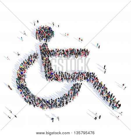 Large and creative group of people gathered together in the shape of a disabled person, medicine images. 3D illustration, isolated against a white background.