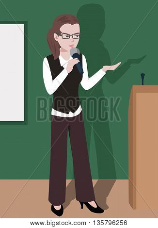 woman giving a lecture - cartoon illustration of serious young girl speaking into microphone