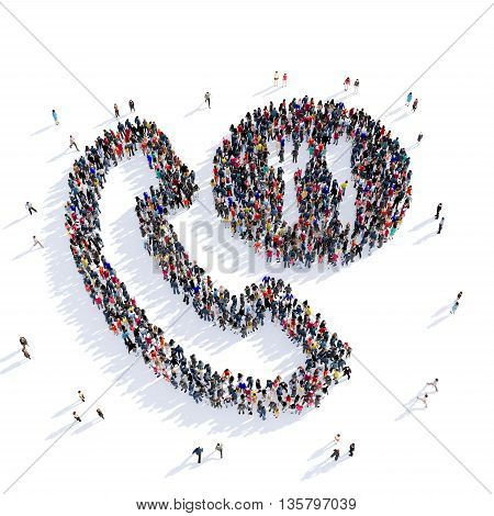 Large and creative group of people gathered together in the shape of ordering food for teleofonu, food, image. 3D illustration, isolated against a white background.