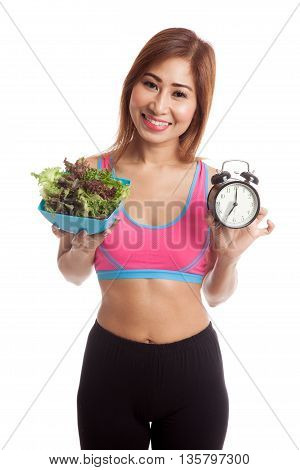 Beautiful Asian Healthy Girl With Clock And Salad