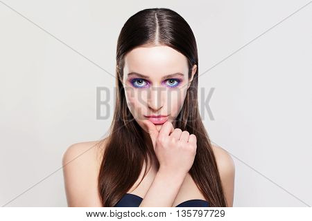 Woman with Healthy Hair Skin and Fashion Makeup