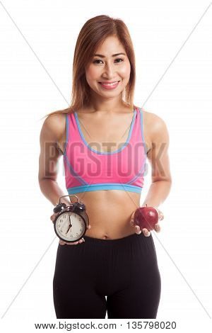 Beautiful Asian Healthy Girl With Clock And Apple