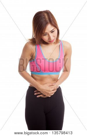 Asian Healthy Girl Got Stomachache