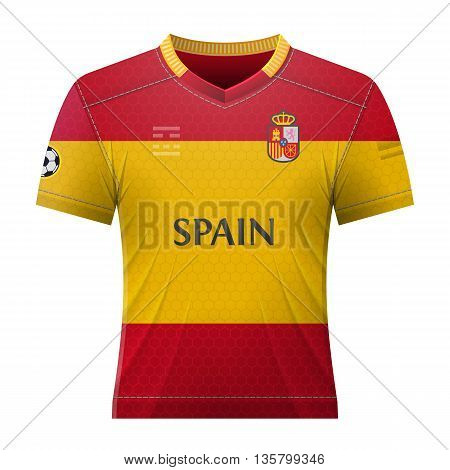Soccer shirt in spanish colors. National jersey for football team of Spain. Qualitative vector illustration about soccer, sport game, football, championship, national team, gameplay, etc