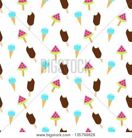 Ice cream vector seamless pattern. Summer ice dessert collection. Waffle cone, popsicle and sundae background for wrap and textile. Eskimo pie and watermelon ice-cream.