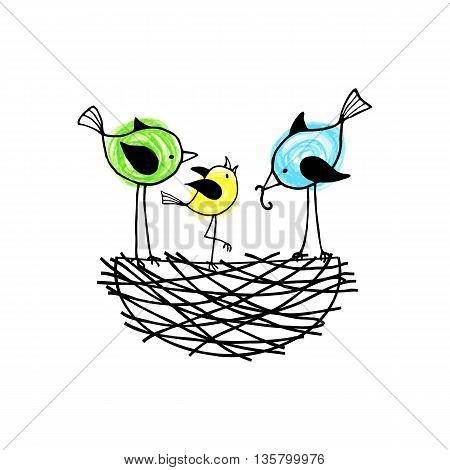 Family birds in a nest the parents feed their nestling. Vector illustration.