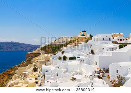 Oia, traditional greek village and Aegan sea at summer, Santorini, Greece