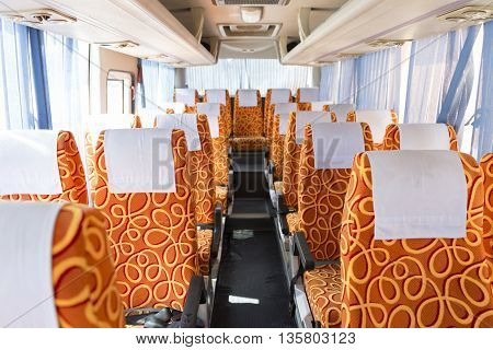 Orange Fabric Vehicle Seat On Bus