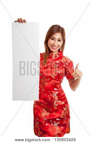 Asian Girl In Chinese Cheongsam Dress Thumbs Up With  Red Blank Sign
