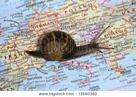 poster of A snail crawling over a map, conceptually traveling through Europe