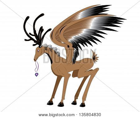The brown deer with wings holds a pendent heart