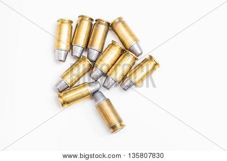 .45inch or 11mm acp bullet ammo isolated on white