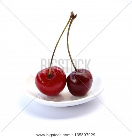 Sweet juicy cherry on a white background photo for micro-stock