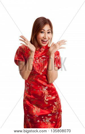 Excited Asian Girl In Chinese Cheongsam Dress