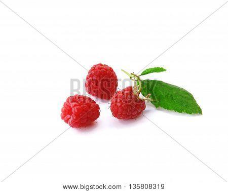 sweet tasty raspberries on white background photo for micro-stock