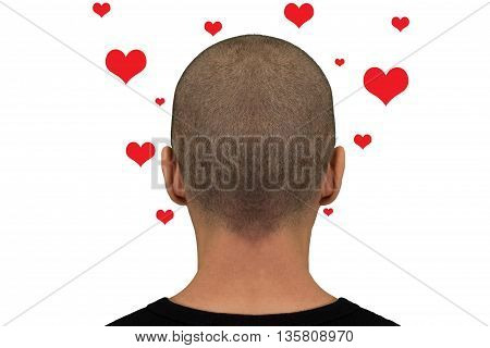 Nape of the neck of a man with hearts over their heads