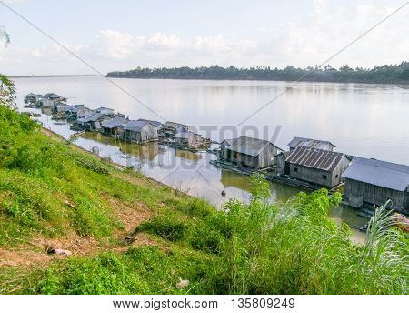 waterside scenery around Koh Trong a island at Mekong river in Cambodia