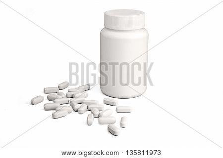 White plastic medicine bottle with pills on white background